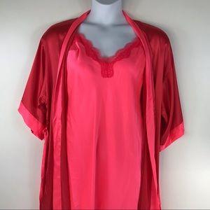 New Victoria Secret Satin Red Pink Short Nightgown